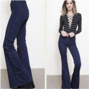 NWT Free People Jolene Clean Denim Navy Flared/ Wide Leg Bell Bottom Jeans- 26 W